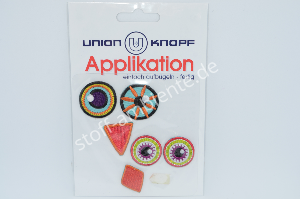 Applikation Union Knopf,  Augen Gesicht Vogel orange-rot