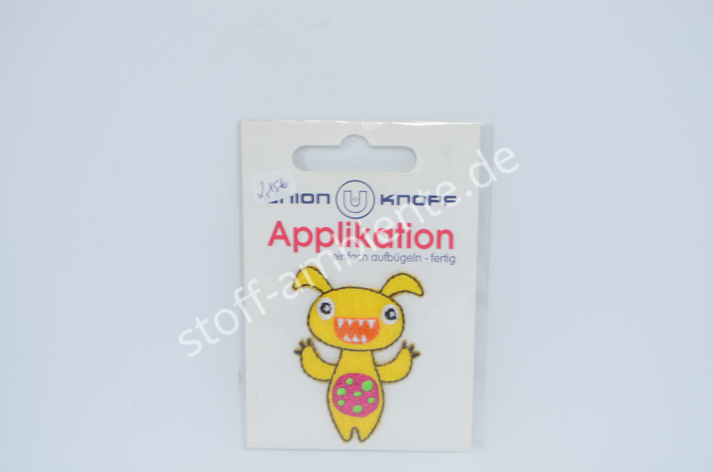 Applikation Union Knopf Monster gelb