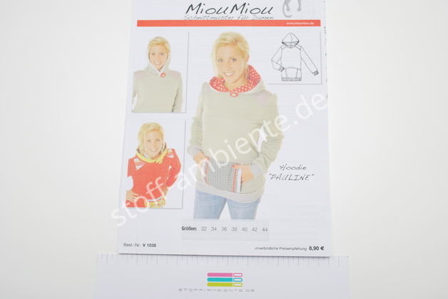 Schnittmuster MiouMiou Hoodie Pauline V 1035